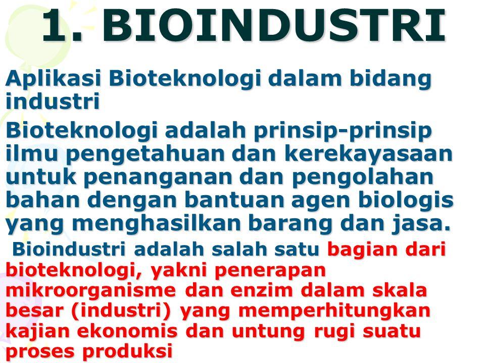1. BIOINDUSTRI Aplikasi Bioteknologi dalam bidang industri Bioteknologi adalah prinsip-prinsip ilmu pengetahuan dan kerekayasaan untuk penanganan dan