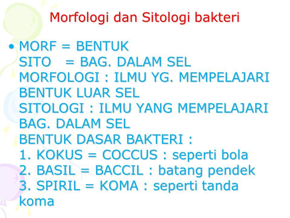 Morfologi dan Sitologi bakteri MORF = BENTUK SITO = BAG. DALAM SEL MORFOLOGI : ILMU YG. MEMPELAJARI BENTUK LUAR SEL SITOLOGI : ILMU YANG MEMPELAJARI B