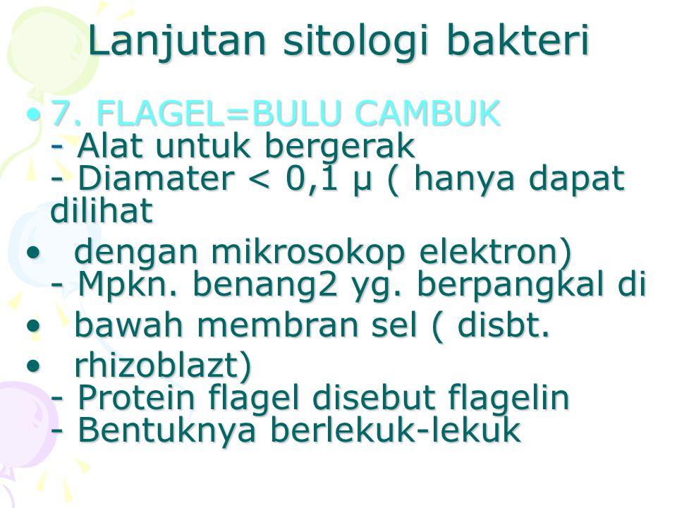 Lanjutan sitologi bakteri 7. FLAGEL=BULU CAMBUK - Alat untuk bergerak - Diamater < 0,1 μ ( hanya dapat dilihat7. FLAGEL=BULU CAMBUK - Alat untuk berge