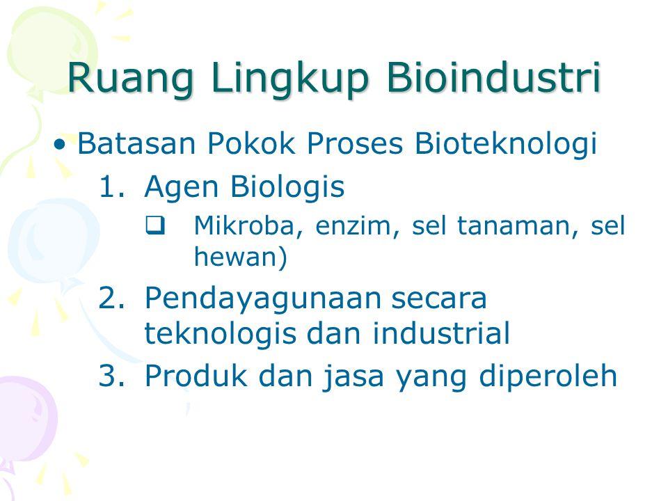 Ruang Lingkup Bioindustri Batasan Pokok Proses Bioteknologi 1.Agen Biologis  Mikroba, enzim, sel tanaman, sel hewan) 2.Pendayagunaan secara teknologi