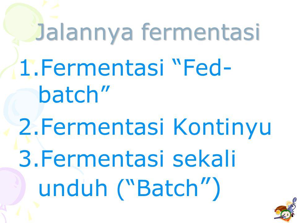 "Jalannya fermentasi 1.Fermentasi ""Fed- batch"" 2.Fermentasi Kontinyu 3.Fermentasi sekali unduh (""Batch "")"