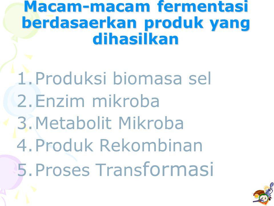 Macam-macam fermentasi berdasaerkan produk yang dihasilkan 1.Produksi biomasa sel 2.Enzim mikroba 3.Metabolit Mikroba 4.Produk Rekombinan 5.Proses Tra