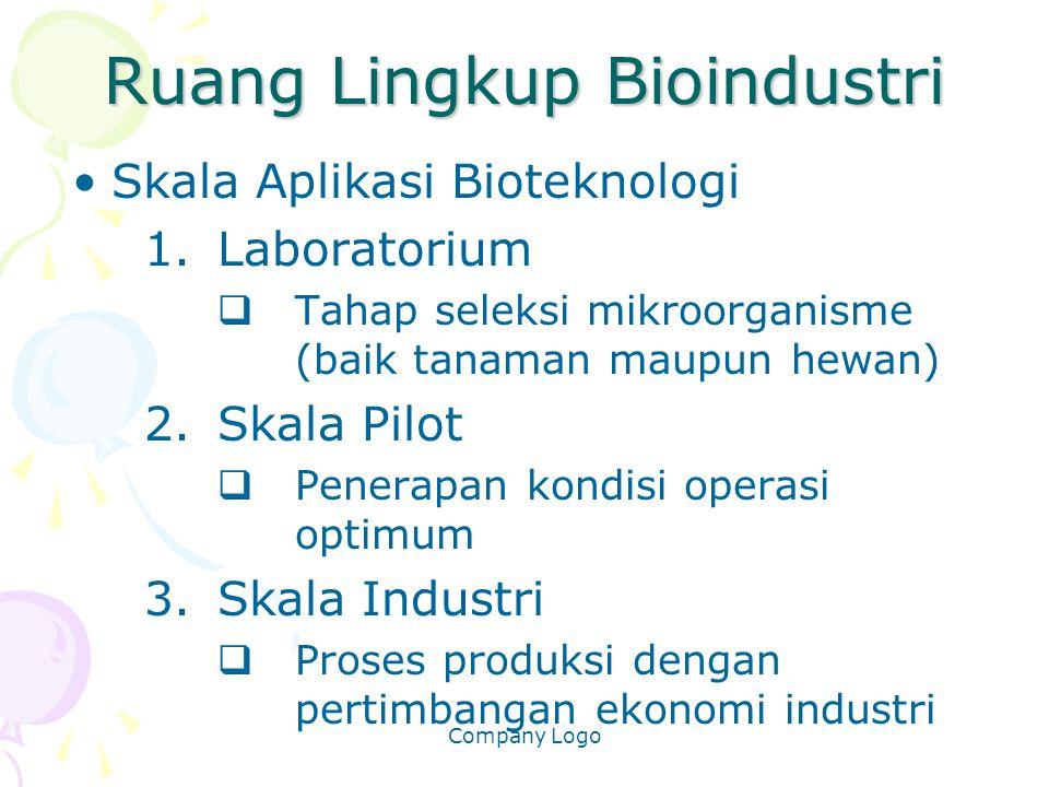 Company Logo Ruang Lingkup Bioindustri Skala Aplikasi Bioteknologi 1.Laboratorium  Tahap seleksi mikroorganisme (baik tanaman maupun hewan) 2.Skala P