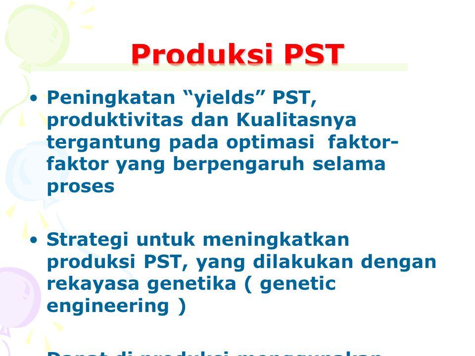 """Produksi PST Peningkatan """"yields"""" PST, produktivitas dan Kualitasnya tergantung pada optimasi faktor- faktor yang berpengaruh selama proses Strategi u"""