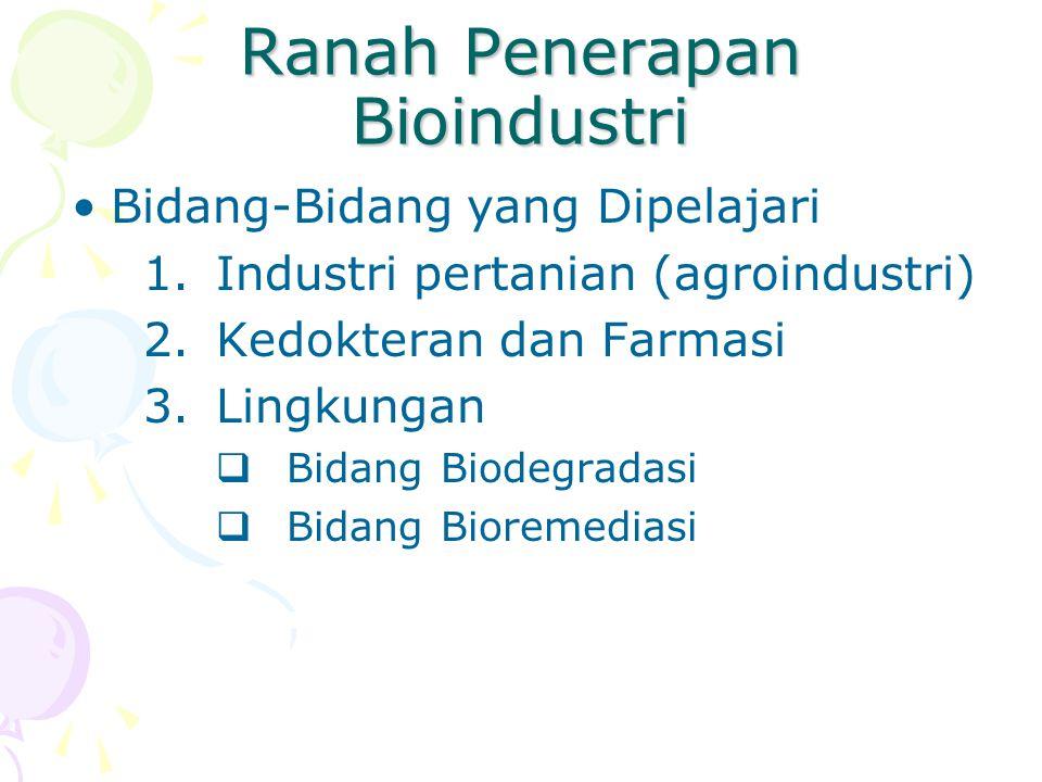 Ranah Penerapan Bioindustri Bidang-Bidang yang Dipelajari 1.Industri pertanian (agroindustri) 2.Kedokteran dan Farmasi 3.Lingkungan  Bidang Biodegrad