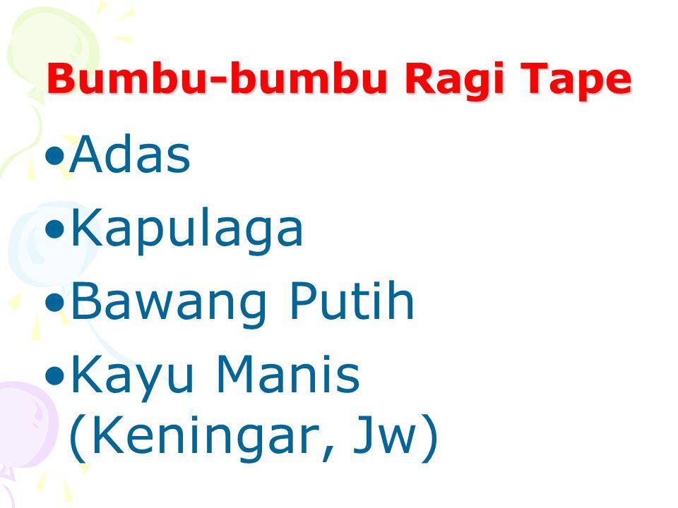 Bumbu-bumbu Ragi Tape Adas Kapulaga Bawang Putih Kayu Manis (Keningar, Jw)