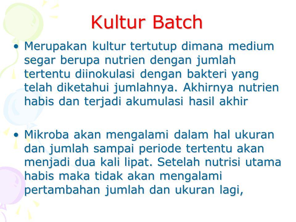 Kultur Batch Merupakan kultur tertutup dimana medium segar berupa nutrien dengan jumlah tertentu diinokulasi dengan bakteri yang telah diketahui jumla