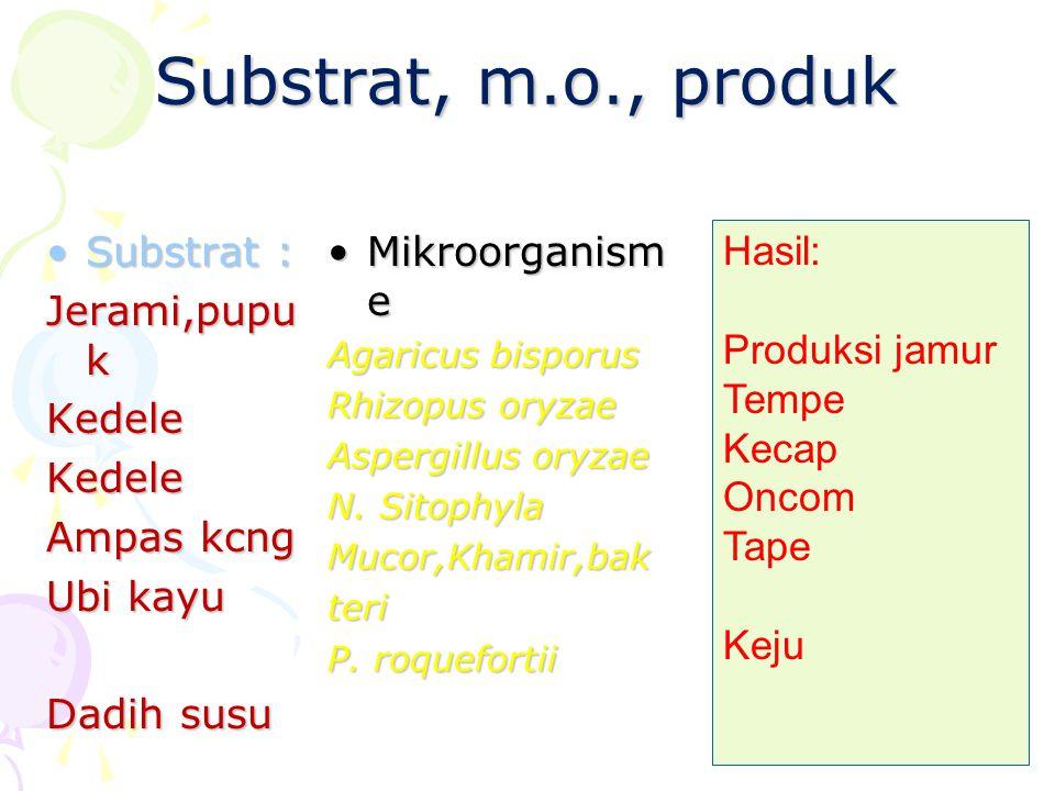 Substrat, m.o., produk Substrat :Substrat : Jerami,pupu k KedeleKedele Ampas kcng Ubi kayu Dadih susu Mikroorganism eMikroorganism e Agaricus bisporus