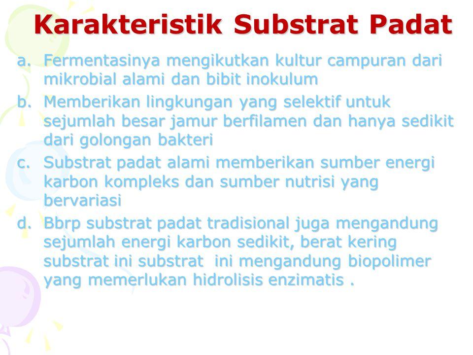 Karakteristik Substrat Padat a.Fermentasinya mengikutkan kultur campuran dari mikrobial alami dan bibit inokulum b.Memberikan lingkungan yang selektif