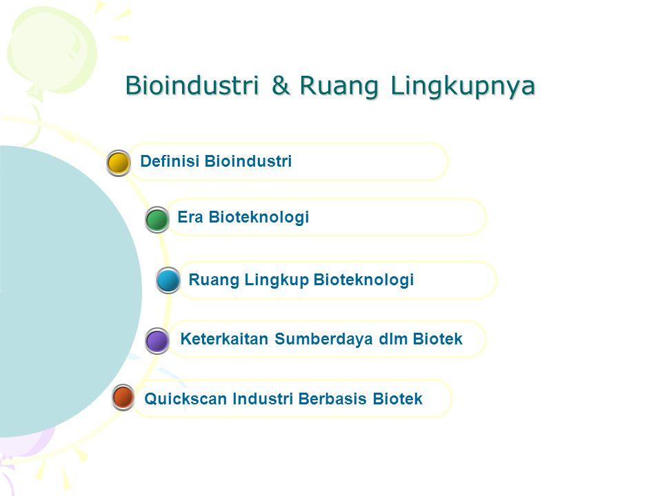 Bioindustri & Ruang Lingkupnya Quickscan Industri Berbasis Biotek Keterkaitan Sumberdaya dlm Biotek Ruang Lingkup Bioteknologi Era Bioteknologi Defini