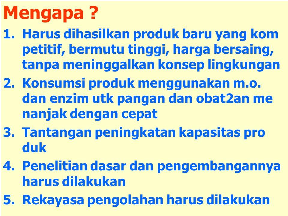 Mengapa ? 1.Harus dihasilkan produk baru yang kom petitif, bermutu tinggi, harga bersaing, tanpa meninggalkan konsep lingkungan 2.Konsumsi produk meng
