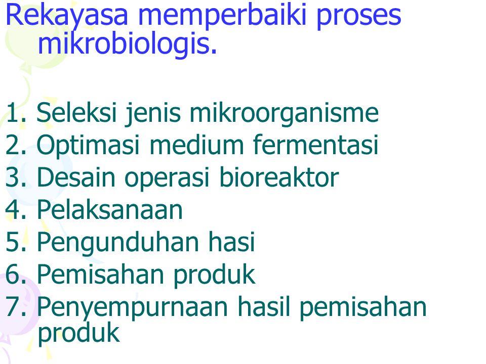 Rekayasa memperbaiki proses mikrobiologis. 1. Seleksi jenis mikroorganisme 2. Optimasi medium fermentasi 3. Desain operasi bioreaktor 4. Pelaksanaan 5
