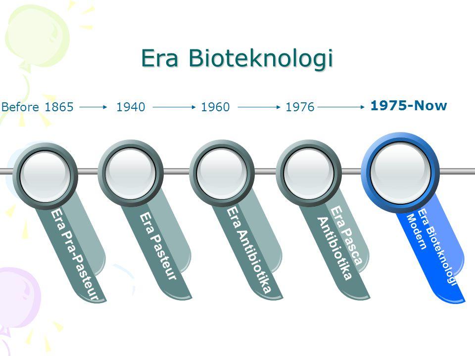 Era Bioteknologi Era Pasteur Era Antibiotika Era Pasca Antibiotika Era Bioteknologi Modern 194019601976 1975-Now Era Pra-Pasteur Before 1865