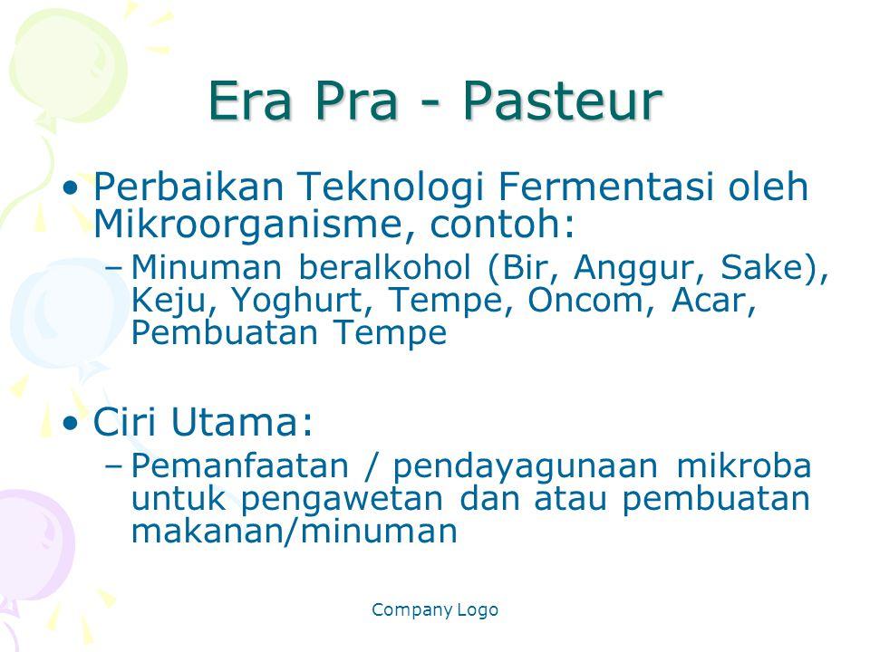 Company Logo Era Pra - Pasteur Perbaikan Teknologi Fermentasi oleh Mikroorganisme, contoh: –Minuman beralkohol (Bir, Anggur, Sake), Keju, Yoghurt, Tem