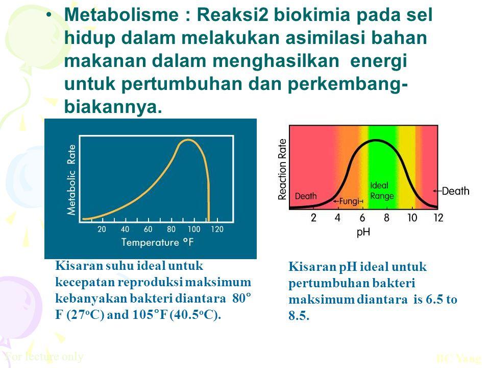Metabolisme : Reaksi2 biokimia pada sel hidup dalam melakukan asimilasi bahan makanan dalam menghasilkan energi untuk pertumbuhan dan perkembang- biak