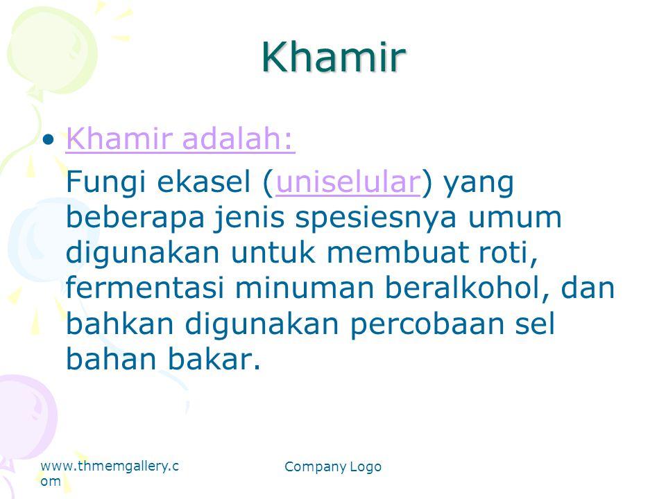 Khamir Khamir adalah: Fungi ekasel (uniselular) yang beberapa jenis spesiesnya umum digunakan untuk membuat roti, fermentasi minuman beralkohol, dan b