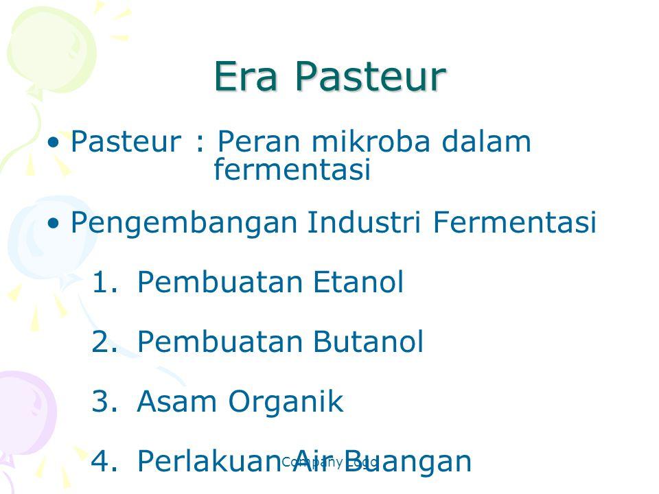 Company Logo Era Pasteur Pasteur: Peran mikroba dalam fermentasi Pengembangan Industri Fermentasi 1.Pembuatan Etanol 2.Pembuatan Butanol 3.Asam Organi