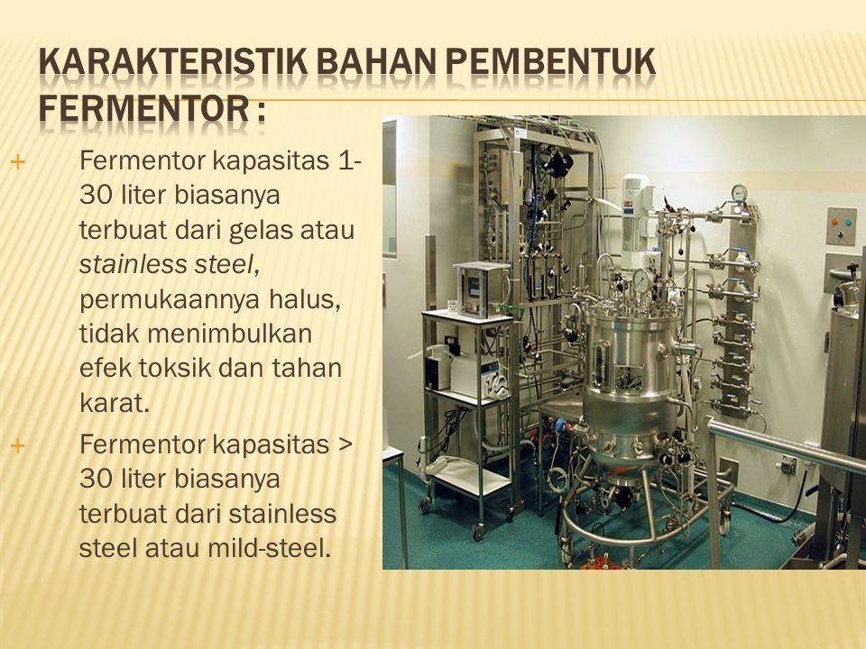  Keterangan : 1 = pipa inokulasi 2 = seal stirrer sahft 3 = tinggi cairan kultur (=L) 4 = baffle 5 = pipa sambung 6 = impeller 7 = pipa udara steril 8 = sparger udara 9 = pipa pengeluaran H = tinggi fermentor D = diameter fermentor 2 1 4 3 56 7 8 D 9 4 F HL