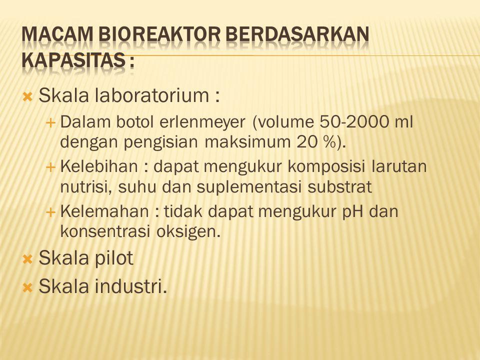  Skala laboratorium :  Dalam botol erlenmeyer (volume 50-2000 ml dengan pengisian maksimum 20 %).
