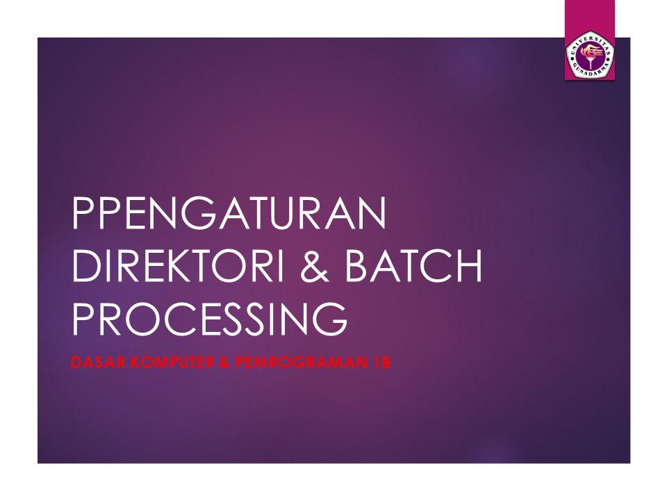 PPENGATURAN DIREKTORI & BATCH PROCESSING DASAR KOMPUTER & PEMROGRAMAN 1B