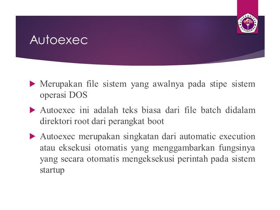 Autoexec  Merupakan file sistem yang awalnya pada stipe sistem operasi DOS  Autoexec ini adalah teks biasa dari file batch didalam direktori root da