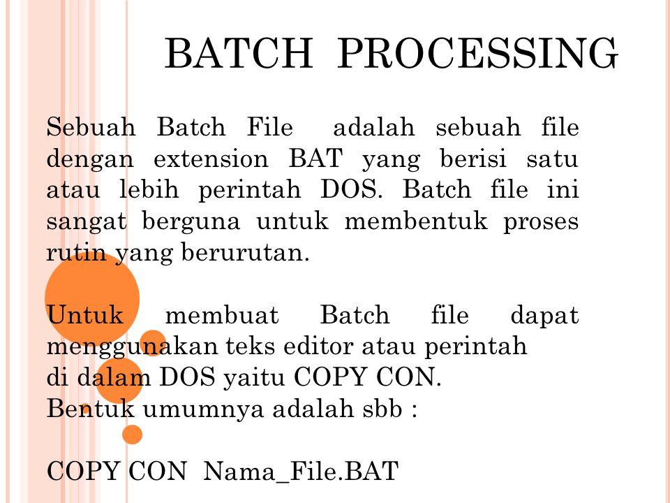 Instruksi Batch File Perintah ECHO Digunakan untuk menampilkan suatu pesan ke layar atau dapat digunakan untuk mengubah keaktifan tampilan dari suatu perintah pada proses batch file Bentuk umum : ECHO ON/OFF/pesan Perintah PAUSE Untuk memberhentuikan proses batch file sementara dan dapat dilanjutkan lagi, yaitu dengan menekan sembarang tombol pada keyboard