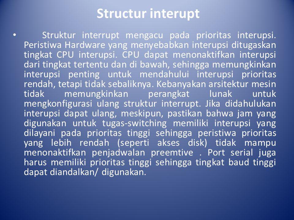 Didahulukan dari interupsi ini penting karena menonaktifkan interupsi adalah cara yang umum untuk saling memberikan pengecualian dalam kernel.