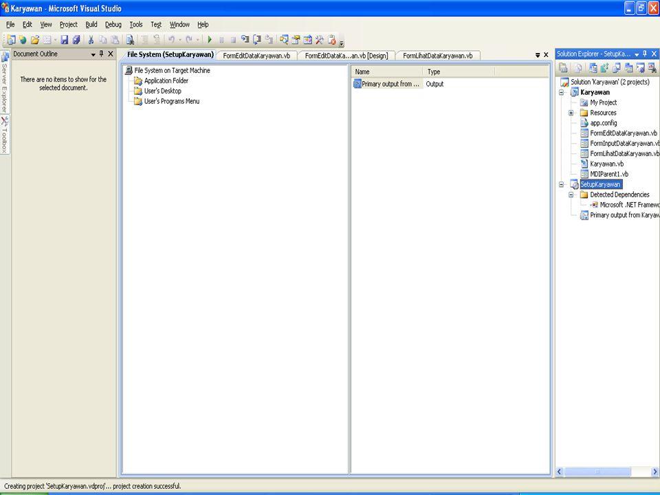   Ini akan menghasilkan 1 project baru di solution explorer anda, contoh namanya : setup  Setelah selesai, klik kanan project baru anda (setup) —> Build Cara Membuat Installer Melalui Aplikasi Setup
