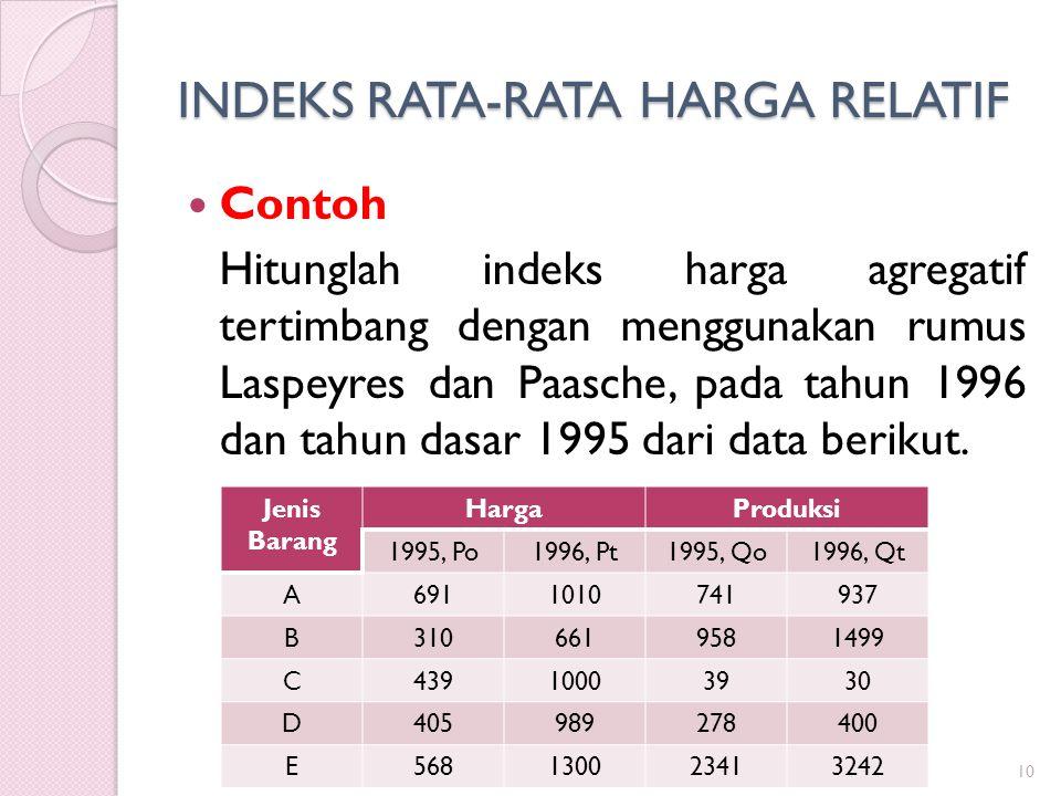 INDEKS RATA-RATA HARGA RELATIF Contoh Hitunglah indeks harga agregatif tertimbang dengan menggunakan rumus Laspeyres dan Paasche, pada tahun 1996 dan