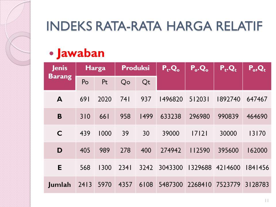 INDEKS RATA-RATA HARGA RELATIF Jawaban 11 Jenis Barang HargaProduksiP t.Q o P o.Q o P t.Q t P o,Q t PoPtQoQt A691202074193714968205120311892740647467