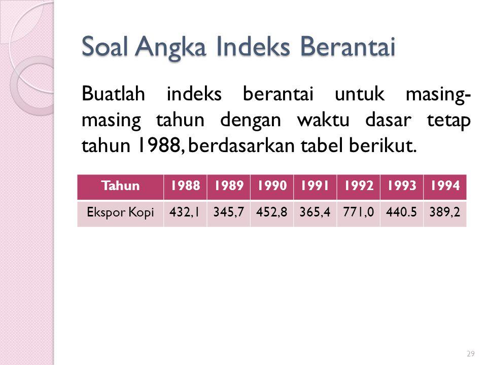 Soal Angka Indeks Berantai 29 Buatlah indeks berantai untuk masing- masing tahun dengan waktu dasar tetap tahun 1988, berdasarkan tabel berikut. Tahun