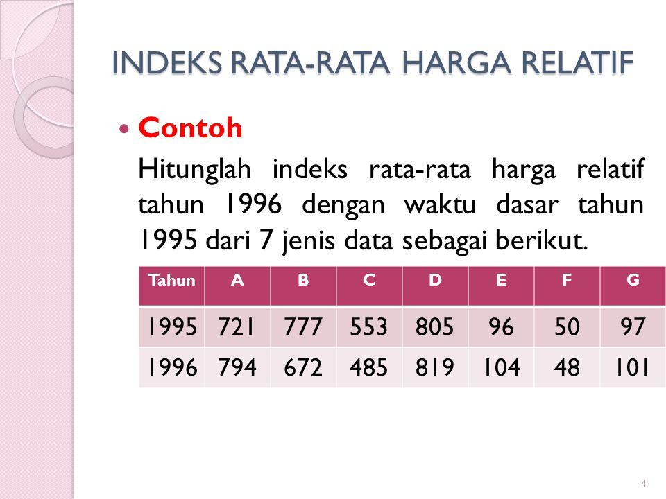 INDEKS RATA-RATA HARGA RELATIF Contoh Hitunglah indeks rata-rata harga relatif tahun 1996 dengan waktu dasar tahun 1995 dari 7 jenis data sebagai beri