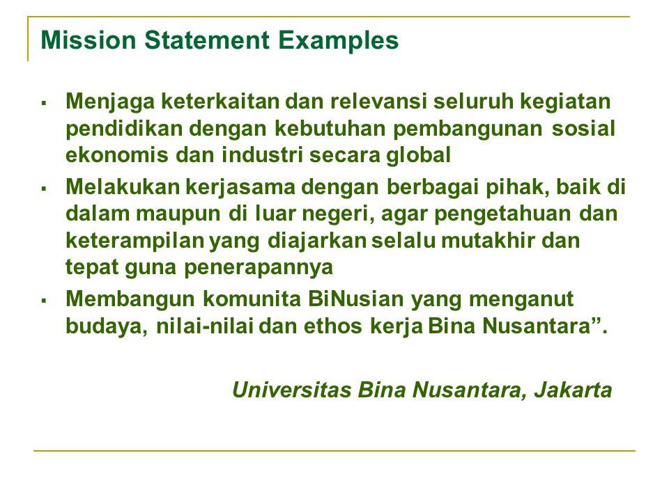 Mission Statement Examples  Menjaga keterkaitan dan relevansi seluruh kegiatan pendidikan dengan kebutuhan pembangunan sosial ekonomis dan industri s