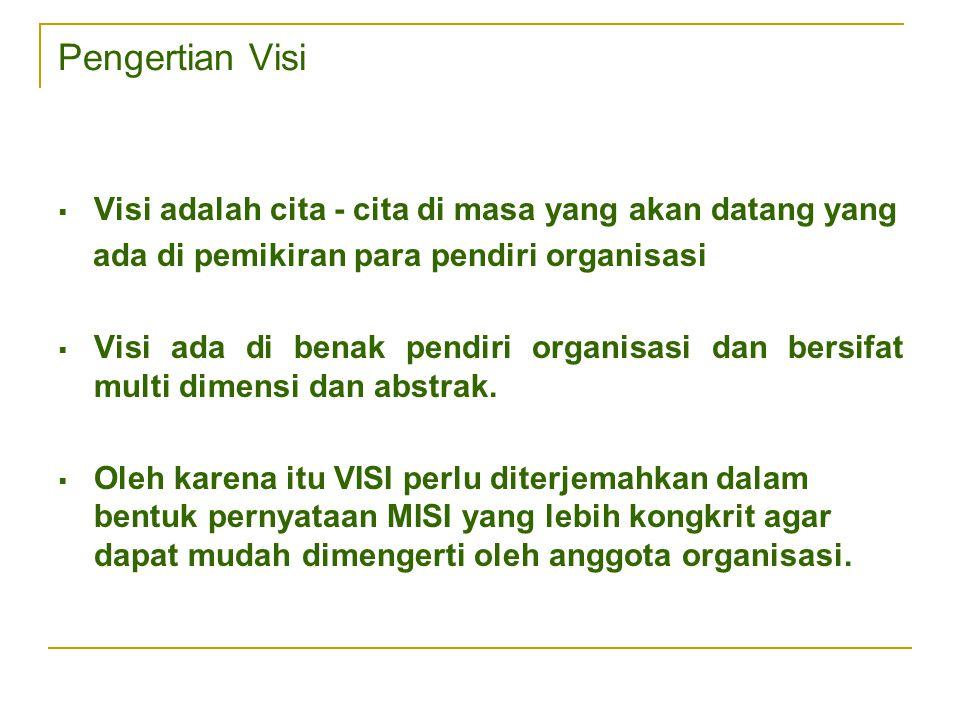 Pengertian Visi  Visi adalah cita - cita di masa yang akan datang yang ada di pemikiran para pendiri organisasi  Visi ada di benak pendiri organisas