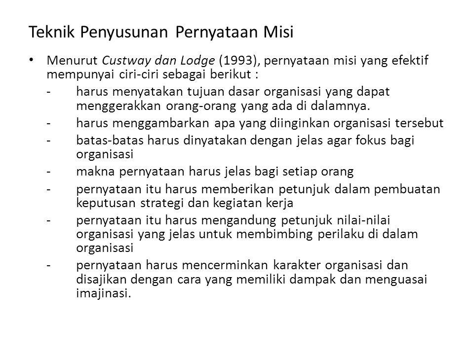 Teknik Penyusunan Pernyataan Misi Menurut Custway dan Lodge (1993), pernyataan misi yang efektif mempunyai ciri-ciri sebagai berikut : -harus menyatakan tujuan dasar organisasi yang dapat menggerakkan orang-orang yang ada di dalamnya.