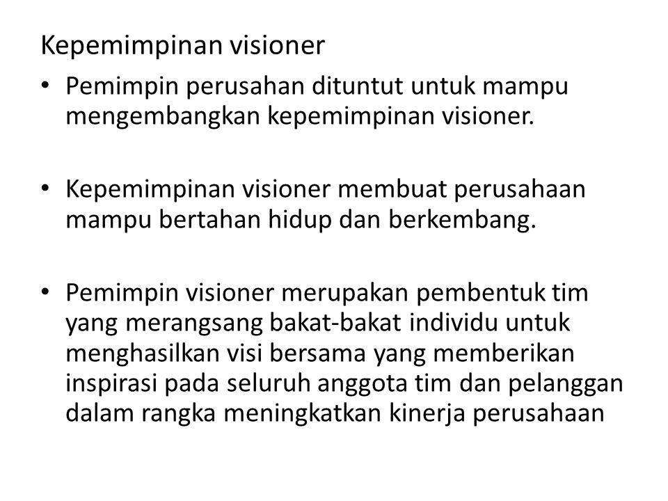 Kepemimpinan visioner Pemimpin perusahan dituntut untuk mampu mengembangkan kepemimpinan visioner.