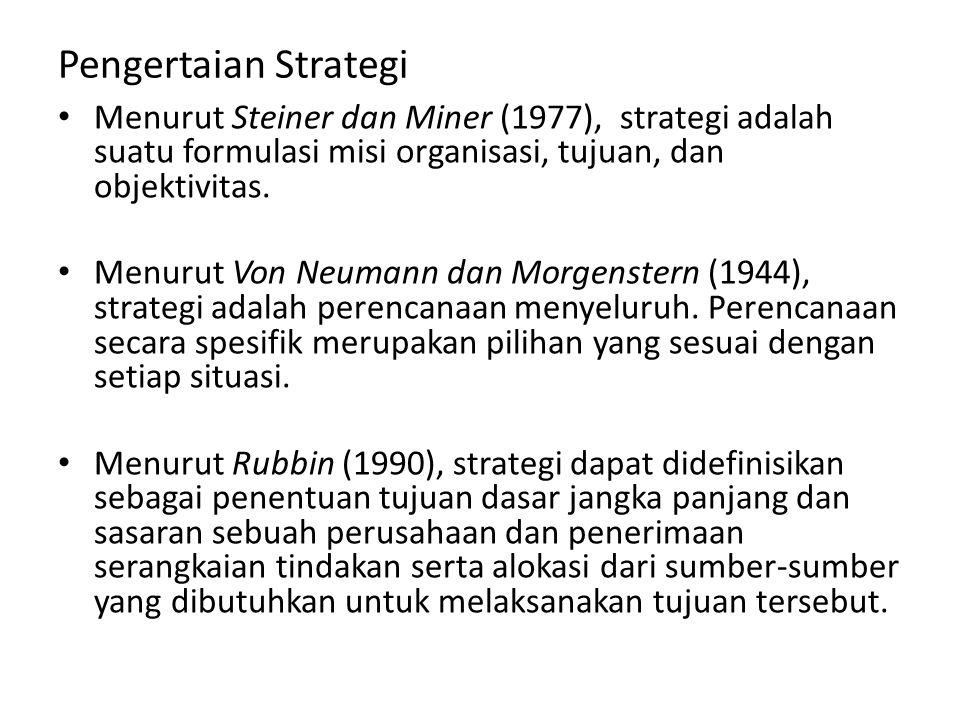 Pengertaian Strategi Menurut Steiner dan Miner (1977), strategi adalah suatu formulasi misi organisasi, tujuan, dan objektivitas.