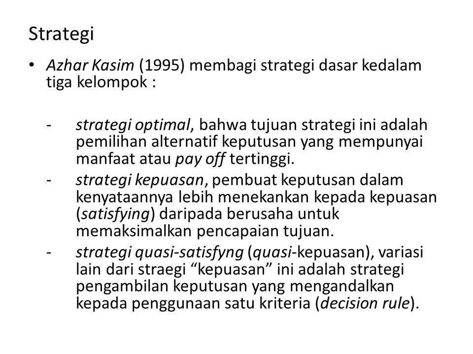 Strategi Azhar Kasim (1995) membagi strategi dasar kedalam tiga kelompok : -strategi optimal, bahwa tujuan strategi ini adalah pemilihan alternatif keputusan yang mempunyai manfaat atau pay off tertinggi.