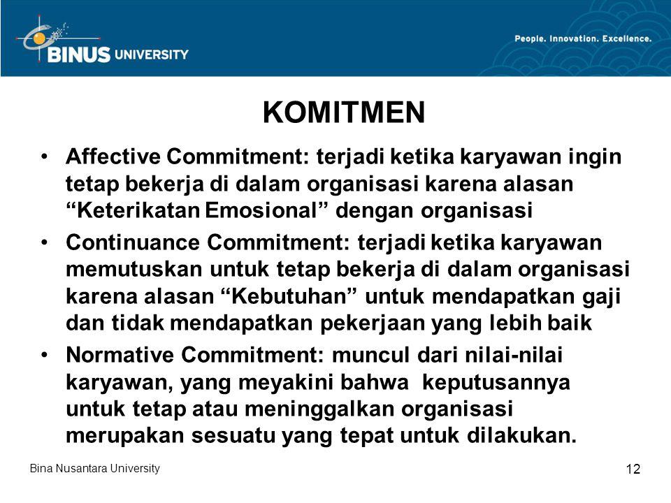 """KOMITMEN Affective Commitment: terjadi ketika karyawan ingin tetap bekerja di dalam organisasi karena alasan """"Keterikatan Emosional"""" dengan organisasi"""
