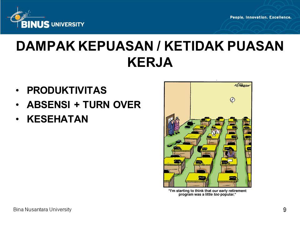 DAMPAK KEPUASAN / KETIDAK PUASAN KERJA PRODUKTIVITAS ABSENSI + TURN OVER KESEHATAN Bina Nusantara University 9