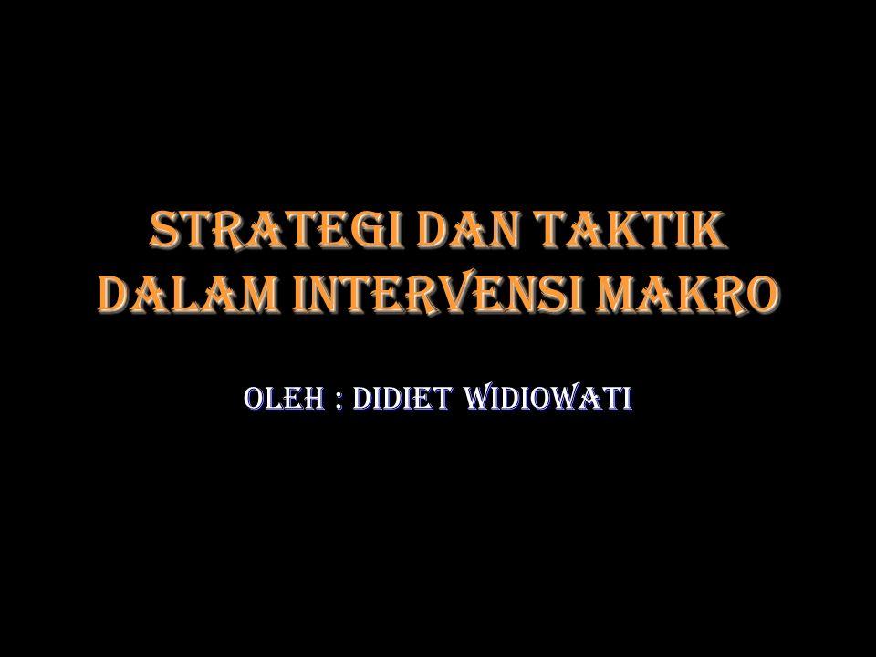 Strategi dan taktik dalam Intervensi Makro Oleh : Didiet Widiowati