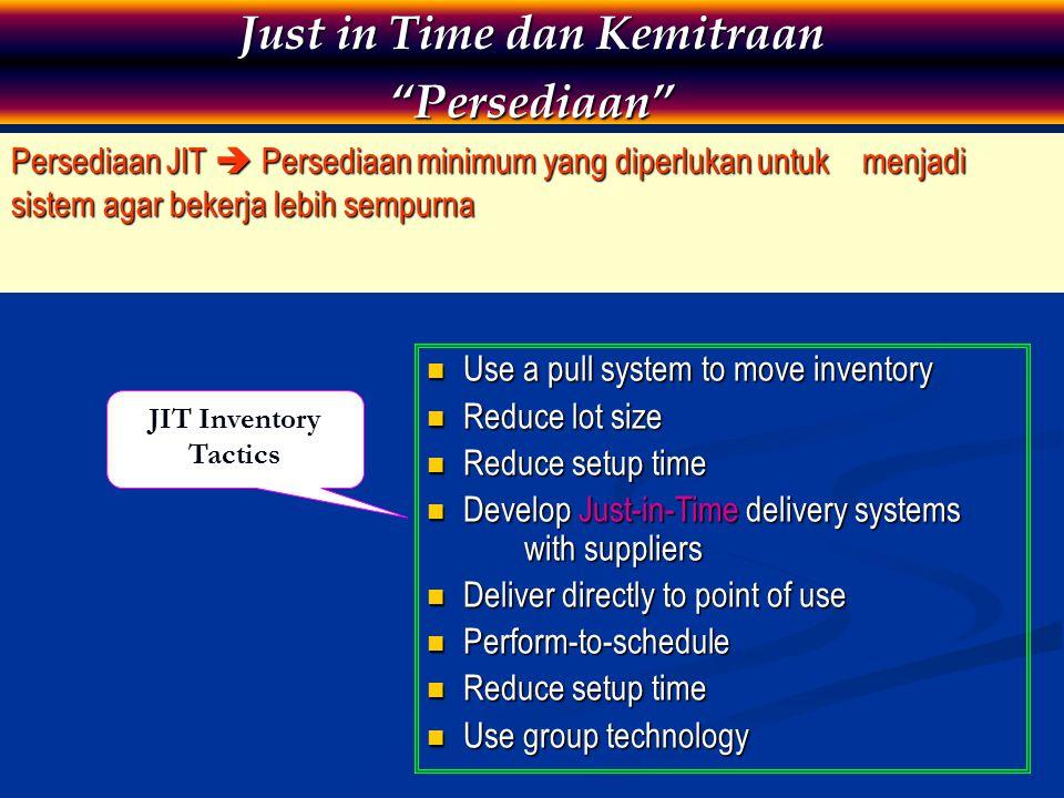 "Persediaan JIT  Persediaan minimum yang diperlukan untuk menjadi sistem agar bekerja lebih sempurna Just in Time dan Kemitraan ""Persediaan"" Use a pul"