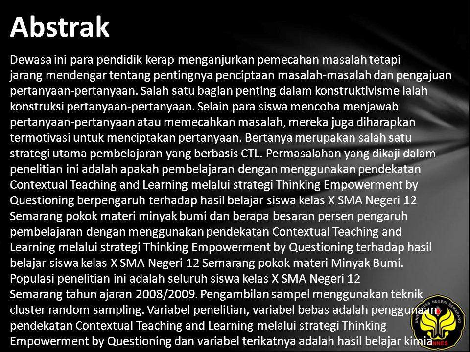 Kata Kunci Pendekatan Contextual Teaching and Learning, Thinking Empowerment by Questioning, Hasil Belajar.