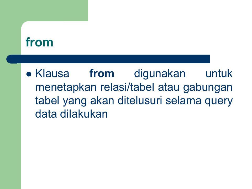 from Klausa from digunakan untuk menetapkan relasi/tabel atau gabungan tabel yang akan ditelusuri selama query data dilakukan