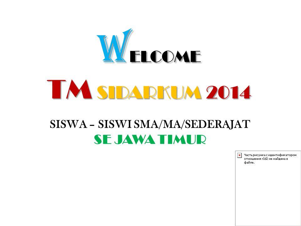 W ELCOME TM SIDARKUM 2014 SISWA – SISWI SMA/MA/SEDERAJAT SE JAWA TIMUR