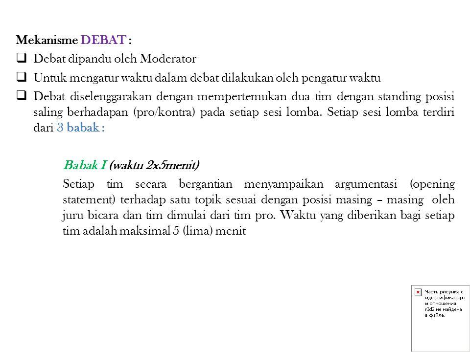 Mekanisme DEBAT :  Debat dipandu oleh Moderator  Untuk mengatur waktu dalam debat dilakukan oleh pengatur waktu  Debat diselenggarakan dengan mempe