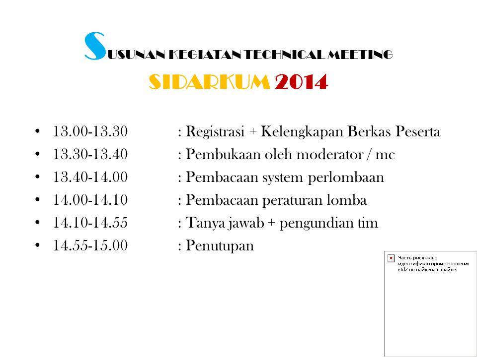 S USUNAN KEGIATAN TECHNICAL MEETING SIDARKUM 2014 13.00-13.30 : Registrasi + Kelengkapan Berkas Peserta 13.30-13.40: Pembukaan oleh moderator / mc 13.