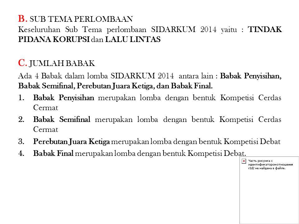 MERAH MERAH 1 (STANDING PRO/KONTRA) MERAH 2 (STANDING PRO/KONTRA) BIRU BIRU 1 (STANDING PRO/KONTRA) BIRU 2 (STANDING PRO/KONTRA) DEBAT, POSISI STANDING AKAN DITENTUKAN 1 MARET 2014 DEBAT, POSISI STANDING AKAN DITENTUKAN 1 MARET 2014 YANG MEMPEROLEH NILAI TERENDAH DI MASING- MASING KUBU AKAN OTOMATIS BERTARUNG UNTUK POSISI JUARA III DAN JUARA HARAPAN 1 YANG MEMPEROLEH NILAI TERBAIK DI MASING- MASING KUBU AKAN OTOMATIS MASUK KE BABAK FINAL (JUARA I DAN JUARA II) POSISI STANDING PRO KONTRA DITENTUKAN PADA 2 MARET 2014 Penentuan standing dilakukan melalui mekanisme pengundian