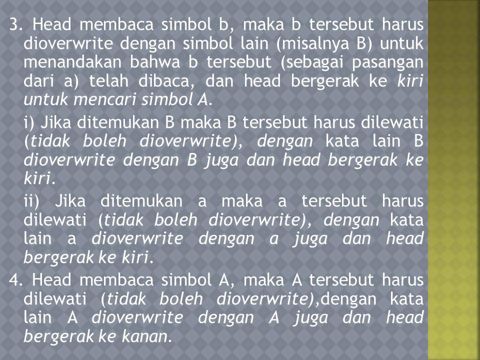 5.Head membaca simbol a, ulangi langkah 2 dan 3. 6.