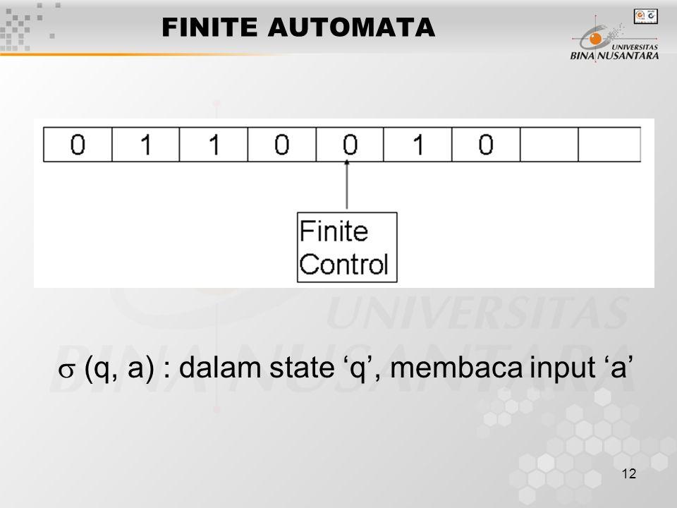 12 FINITE AUTOMATA  (q, a) : dalam state 'q', membaca input 'a'
